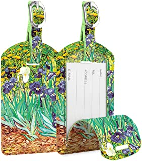 [2 Pack] Luggage Tags, Fintie Leather Name ID Labels with Back Privacy Cover for Travel Bag Suitcase, Irises