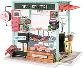 Rolife Dollhouse DIY Craft House Kit-Small Sized Miniature with Accessories and LED-Wooden Model Building Set-Christmas Birthday Gifts for Boys Girls Women Friends(Ice Cream Station)