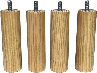 mobiliarioclichi Patas somier de Madera Maciza con Tuerca de métrica 10 Patas de Cama Patas para Bases tapizadas Diferentes Alturas. (4 Unidades 15 cm, Natural)