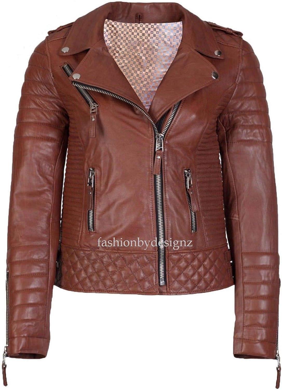 Alishbah Women's Leather Jacket Stylish Motorcycle Biker Genuine Lambskin WJ279