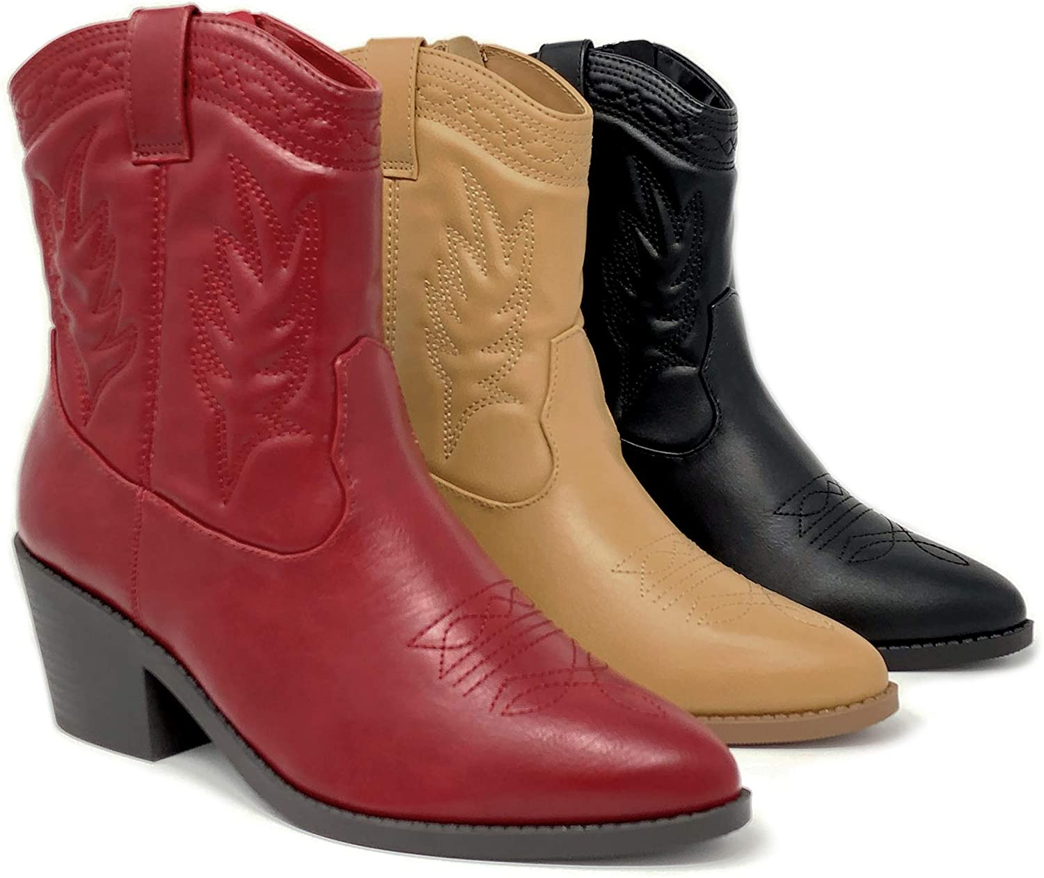High Ankle Western Cowboy Boot Chunky Stack Block Heel & Stitch Detail