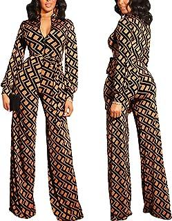 d08e1047be1 ECHOINE Womens Floral Print One Piece Jumpsuits Wide Leg Jumpsuits Rompers  Clubwear