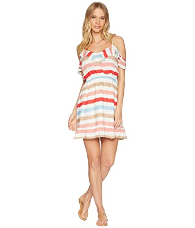 Jack by BB Dakota Meredith Beach Ball Stripe Printed Dress (Hibiscus Red) Women
