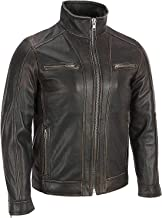 Mens Distressed Black Rivet Leather Faded Seam Cycle Vintage Jacket
