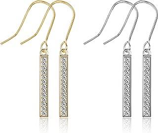 KesaPlan Swarovski Crystal Bar Drop Earrings for Women, 2 Pairs Dangle Earrings, Silver Earrings and Gold Earrings for Gifts
