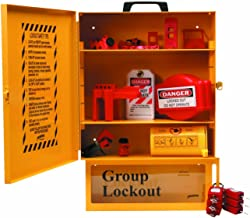 "Brady Combined Lockout And Lock Box Station, Legend ""Safety Lockout Center"", Includes 6 Safety Padlocks , Yellow - 99709"