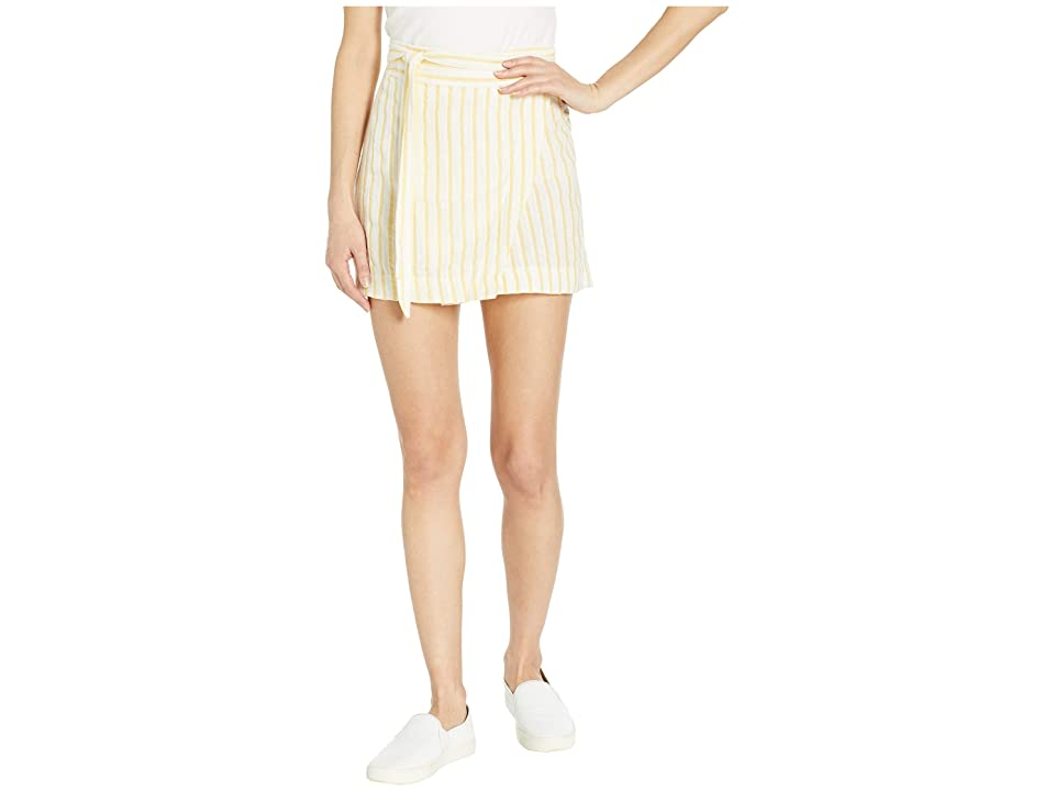 Plush Striped Linen Cover-Up Wrap Skirt with Tie Belt (Marigold Yellow/White Stripe) Women's Swimwear