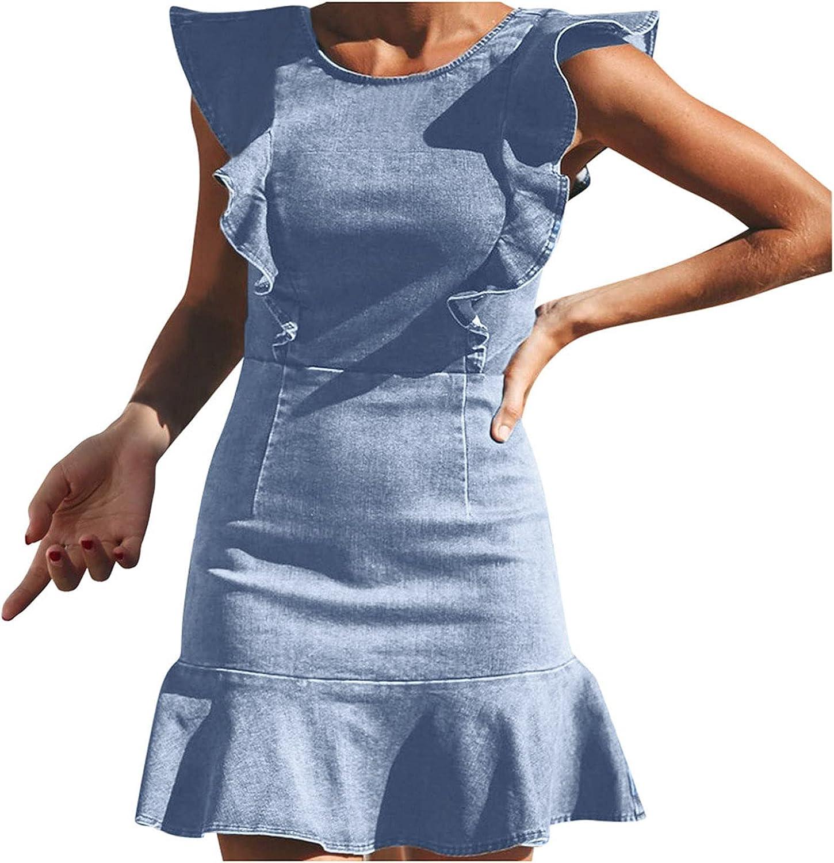 GOODTRADE8 Summer Dresses Maxi Dress Women Elegant Ruffle Skirt Stretch Denim Dress