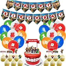 46PCS Roblox Game Party Decorations,Roblox Game Birthday Party Supplies,Happy Birthday Banner, 24PCS Roblox Game Cake Topp...