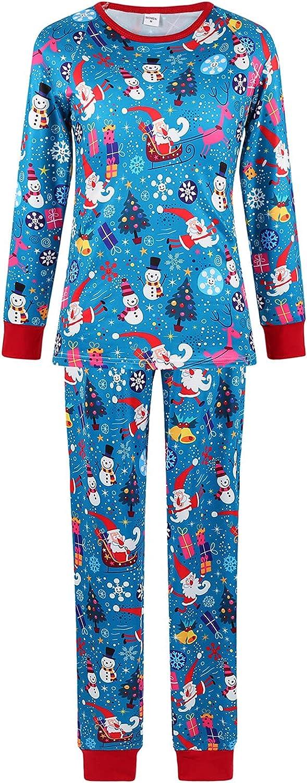 Blue Christmas Pajamas Family Pjs Matching Sets Round Neck Long Sleeve Top and Pants Sleepwear Jammies