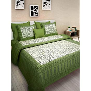 BedZone Cotton Comfort Rajasthani Jaipuri Traditional King Size 1 Double Bedsheets with 2 Pillow Covers , Green