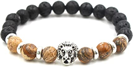 Fashion 8MM Black Lava Stone Beads Stretch Bracelet Alloy Lion Head Bangle