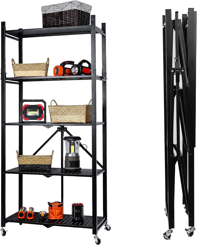 MU Folding Metal Storage Ranking TOP18 Shelves Freestand Foldable Max 47% OFF Unit 5-Tier