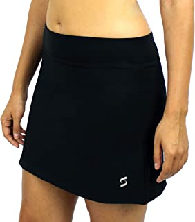 SAVALINO Women's Tennis Skort with Under Shorts and Ball Pockets, Athletic Bowling Skirt Material Wicks Sweat and Dries Fast