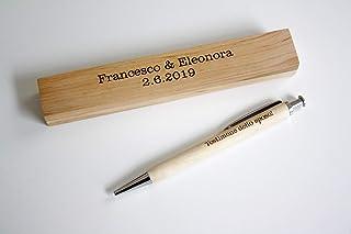 Penna e cassetta incisa, regalo personalizzato con vostro testo. Penna e cassetta di legno