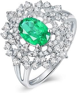 ButiRest - Anello da donna in oro bianco 750, 18 carati, con quattro artigli, taglio ovale, 1 ct, smeraldo VS e diamante d...