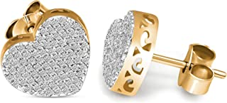 Lab Grown Diamond Earrings 10K White Gold & Yellow Gold 1/3 carat Lab Created Diamond Heart Stud Earring For Women ( 1/3 C...
