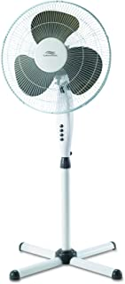 Lakewood LSF1610C-BM White Oscillating Stand Fan with X-Base, 16-Inch