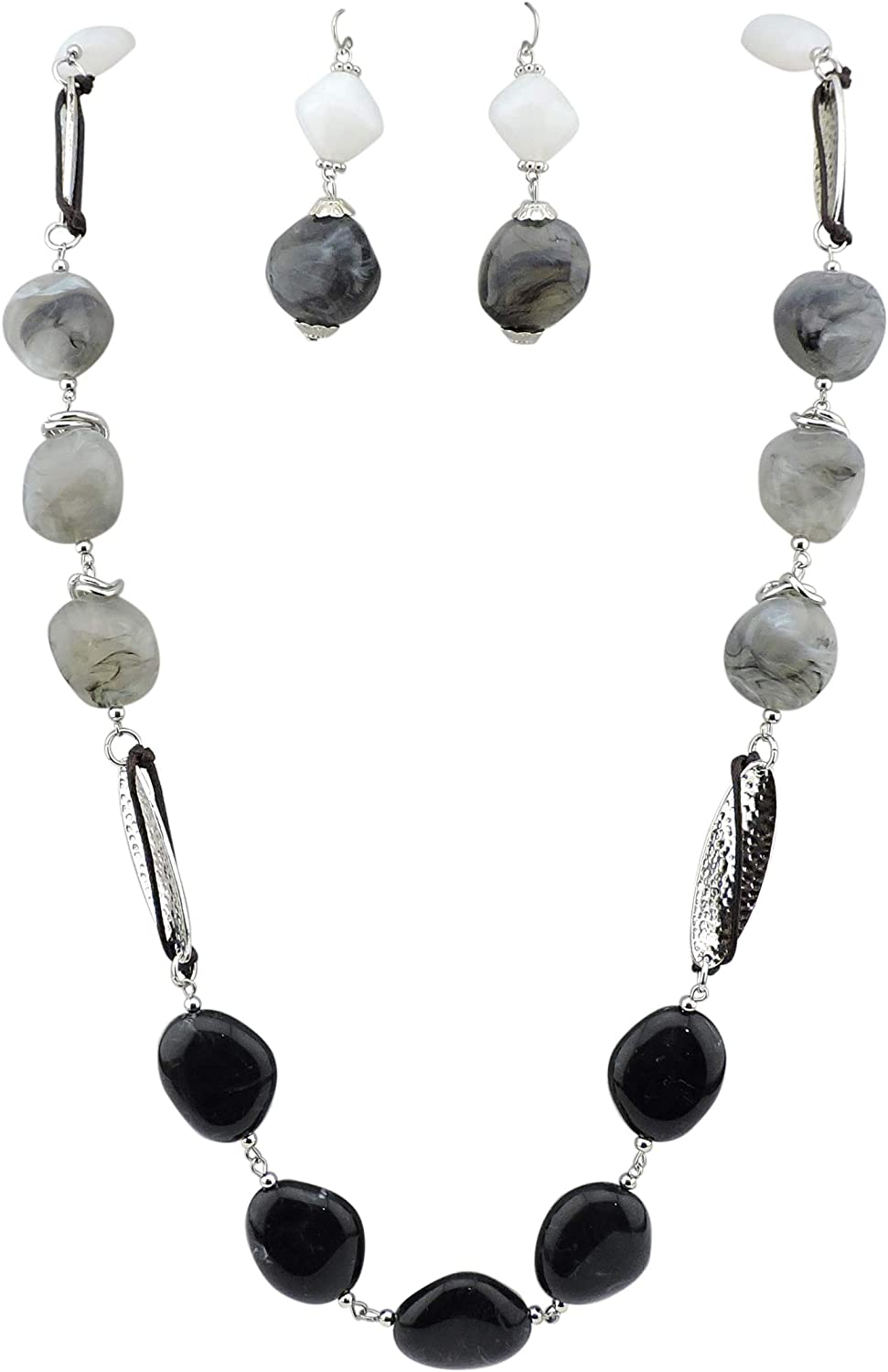 Bocar Newest Long Chunky Beads Necklace and Earrings Set for Women Gift