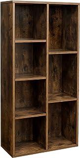 VASAGLE Bücherregal mit 7 Fächern, Würfelregal, offenes Standregal, für Wohnzimmer, Arbeitszimmer, Büro, 50 x 24 x 106 cm...