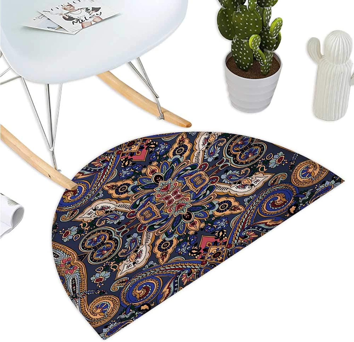 Paisley Half Round Door mats Historical Mgoldccan Florets with Slavic Effects Heritage Design Entry Door Mat H 35.4  xD 53.1  Royal bluee and Sand Brown