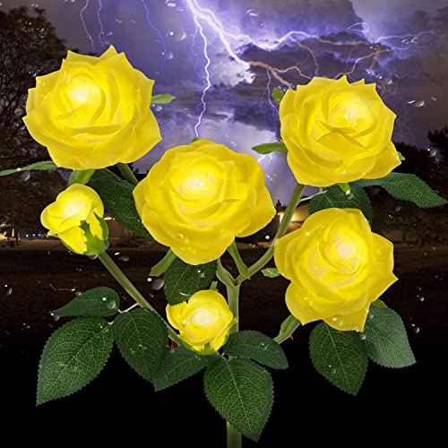 Outdoor Solar Garden Stake Lights,Upgraded LED Solar Powered Light with 6 Rose Flowers, Waterproof Solar Decorative L...