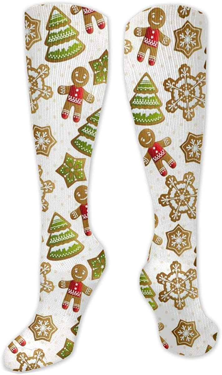 Christmas Tree Gold Snowflakes Knee High Socks Leg Warmer Dresses Long Boot Stockings For Womens Cosplay Daily Wear
