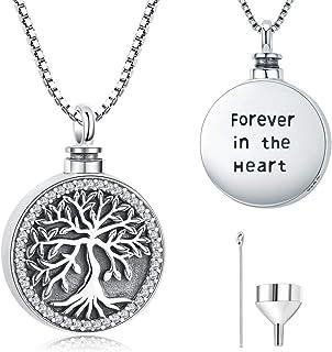 """Collar de urna para cenizas, árbol de la vida de plata de ley 925, joyería de cremación conmemorativa para mujer """"Forever ..."""