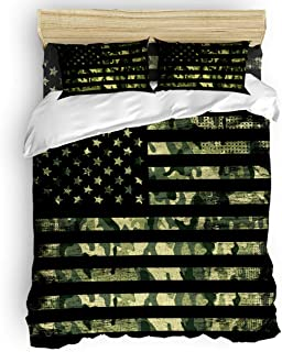 LOVE HOME DAY Camouflage American Flag Bedding Sets Queen Size Ultra Soft 4 Pieces Duvet Cover Set with Bed Decorative 2 Pillow Shams Bedspread Bed Sheets Patriotic Stars and Stripes