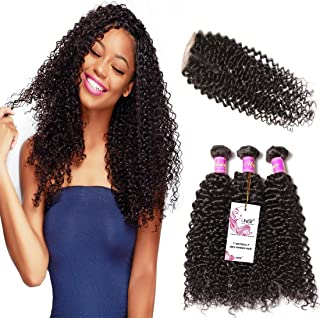 UNice Hair Icenu Series Brazilian Curly Virgin Hair 3 Bundles with 4x4 Lace Closure 100% Unprocessed Human Hair Extensions Weave Natural Color (10 12 14+10, Free Part Lace Closure)