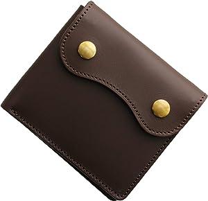 [ Jamale] 日本製 メンズ 財布 ミニ 二つ折り ヌメ革 レザー 本革 コンパクト財布