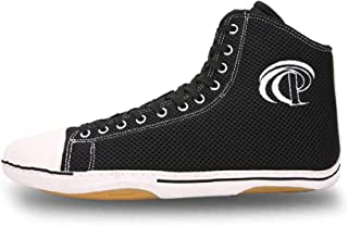 FJJLOVE Mens Boxing Shoe, High-Top Wrestling Shoes Non-Slip Lightweight Boxing Boots Breathable Boxers Training Shoe,Black,42