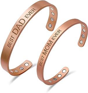 Copper Bracelet For Men And Women BEST DAD EVER BEST MOM EVER-2 PACK