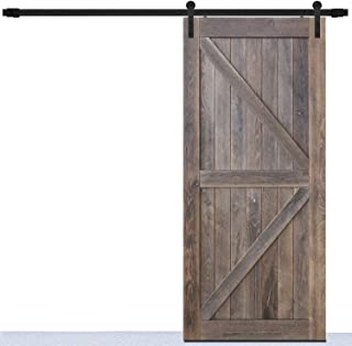 DonYoung 6FT Single Sliding Barn Door Hardware Kit, Heavy Duty Steel Barn Door Track 2PCS I-Shape Hanger with Quiet and Smooth Wheel, Includes All Necessary Accessories, Black