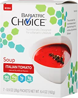Bariatric Choice High Protein Soup Mix / Low-Carb Diet Soup - Italian Tomato (7 Servings/Box) - Fat Free, Low Carb, Sugar Free