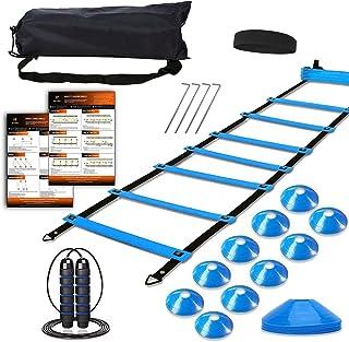 مجموعه آموزش سرعت چابکی ، شامل 1 نردبان چابکی ، 4 پایه فولادی ، 1 سر بند ورزشی ، 1 طناب پرش ، 10 مخروط دیسک و کیف حمل بدن - تجهیزات آموزش سرعت برای فوتبال بسکتبال فوتبال