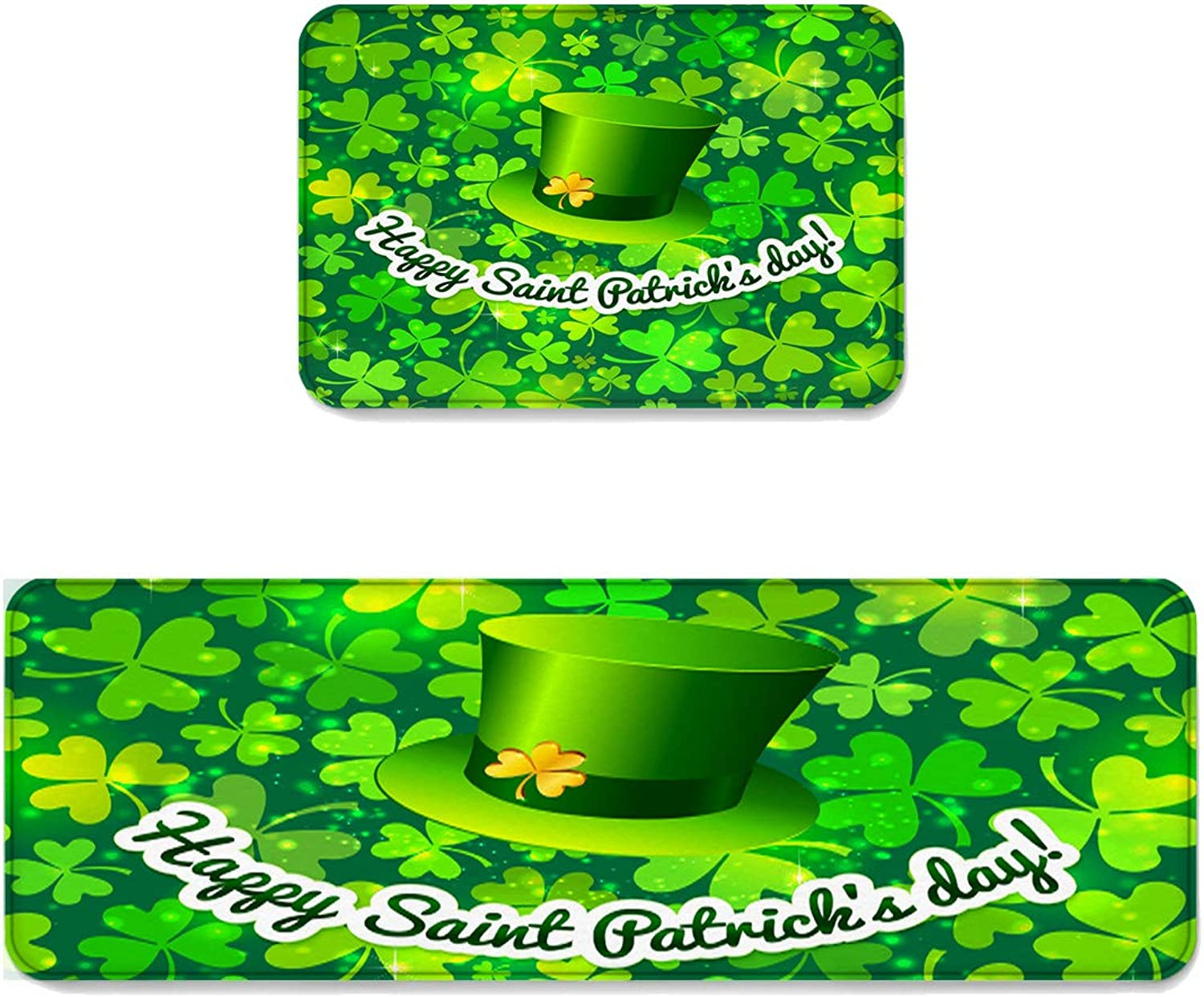 Kitchen Rug Sets 2 Piece Floor Mats Rubber Backing Area Rugs Lucky Green Shamrock and Hat Pattern Happy St Patrick's Day Doormat Washable Carpet Inside Door Mat Pad Sets (19.7  x 31.5 +19.7  x 47.2 )