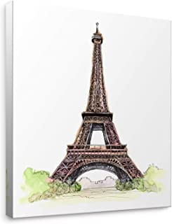 Niwo Art - Eiffel Tower, World's Most Famous Architecture Drawings Series 2, Canvas Wall Art Home Decor, Gallery Wrapped, Stretched, Framed Ready to Hang (16