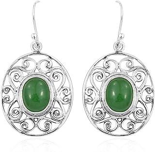 Pendientes de plata de ley 925 para mujer, pendientes colgantes, pendientes de ónix verde ovalado, pendientes colgantes Plata Aretes, Sterling Silver Earrings for Women