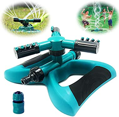 Buyplus Lawn Sprinkler - Automatic 360 Rotating Adjustable Garden Hose Watering Sprinkler Head for Kids, with 3600 SQ FT Cove