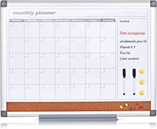 MAKELLO Monthly Calendar Whiteboard Dry Erase Cork Board Combo for Office, Classroom, Kitchen and Bedroom, 36x24 inches