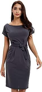 Office Midi Dresses O-Neck Pencil Dress Pockets with Belt Vest Dresses