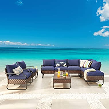Festival Depot 10 Pieces Patio Conversation Sets Outdoor Furniture Sectional Corner Sofa with All-Weather PE Rattan Wicker Ba