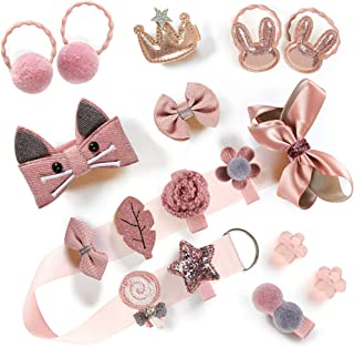 Baby Girls Hair Accessories Clips Ties Fully Covered Bows with Hanger Set, for Infant and Toddlers Fine Hair