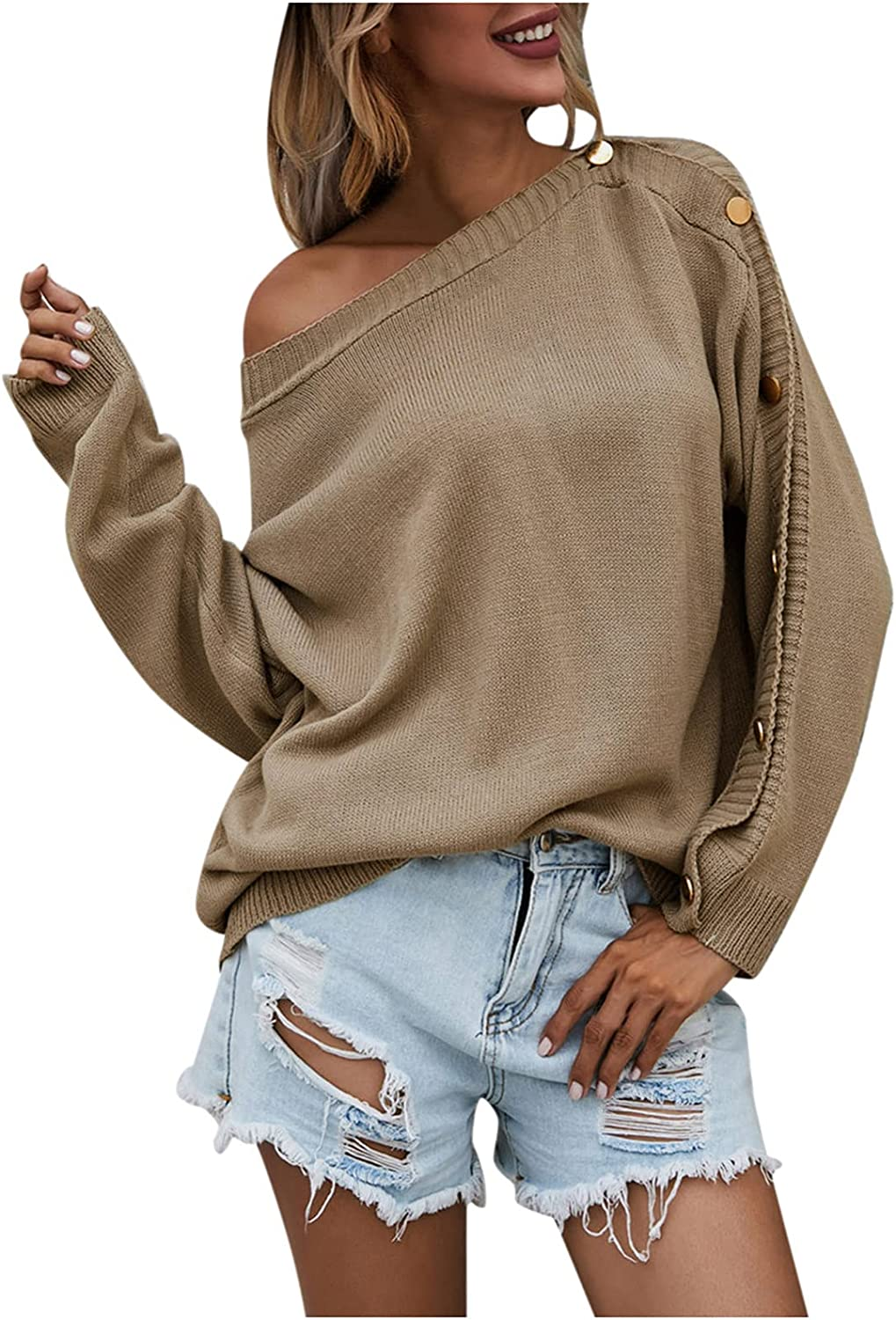 MTLZ Round Neck Long Pullover Solid Color Brown Large Size Casual Single-Breasted Knitted Sweater