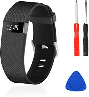 Wizvv Compatible Bands Replacement for Fitbit Charge HR,Charge HR 1, with Metal Buckle Fitness Wristband Strap Women Men Large Small