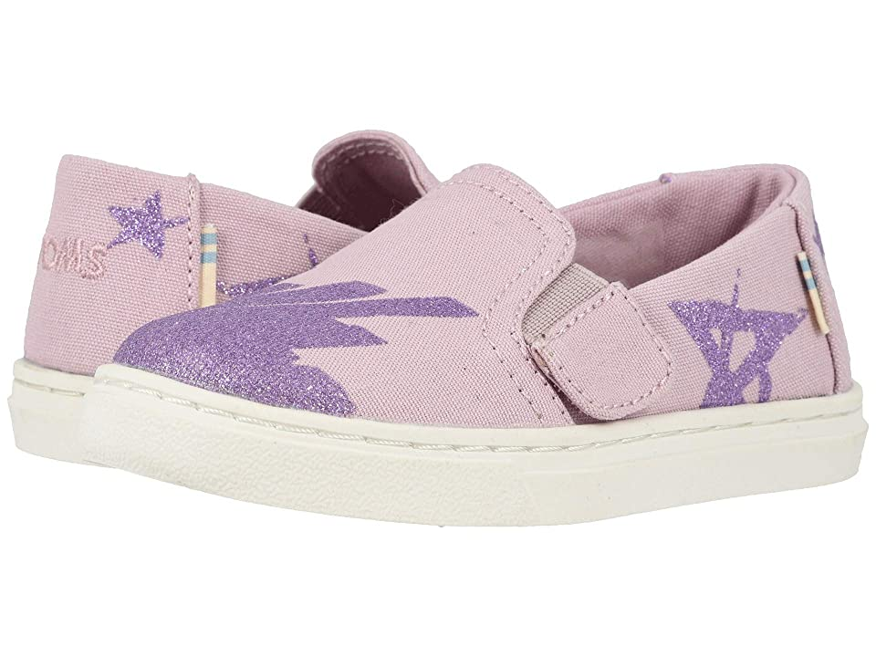 TOMS Kids Luca (Toddler/Little Kid) (Burnished Lilac Glitter Star Canvas) Girl