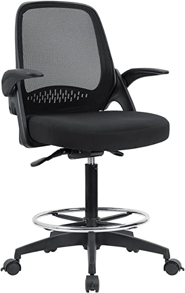 Devoko Drafting Chair With Flip Up Armrests Tall Office Chair Executive Computer Standing Desk Chair With Lockable Wheels And Adjustable Footrest Ring Black