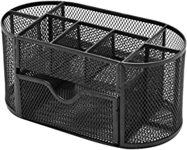 Nesee Mesh Desk Organizer,Desk Supplies Organizer Multi-Functional Stationery Caddy Mesh Oval Pencil Holder Desk Office Supplies Organizer 9 Compartments with Drawer for Note Pads.