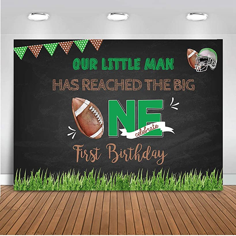 Mehofoto Football Touchdown First Birthday Backdrop Game Time Touchdown Photography Background 7x5ft Vinyl Football Touchdown 1st Birthday Party Banner Backdrops